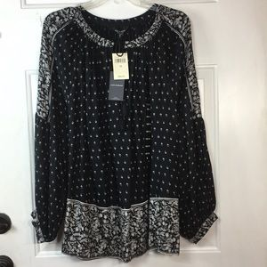 Lucky Brand 1X black and white floral top